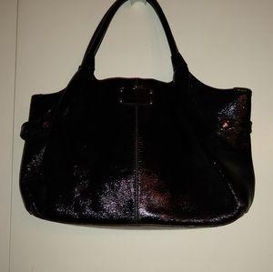 Kate Spade black patent leather satchel.